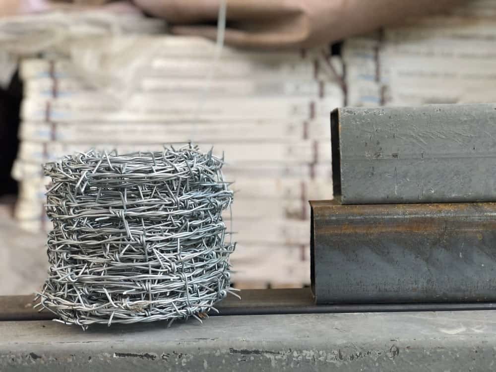 Stacked barbed wire.
