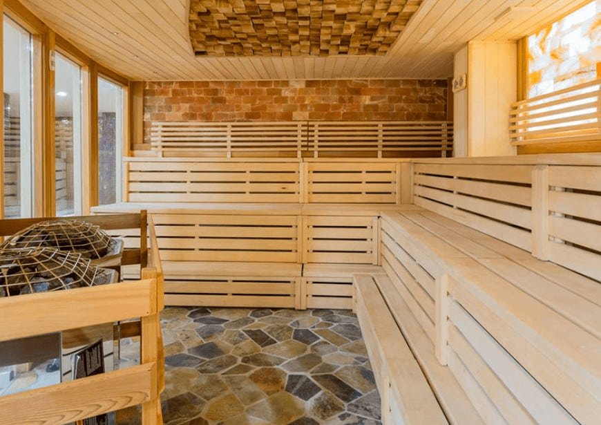 Large dry Finnish sauna at the Art of Sauna - a Vancouver sauna spa